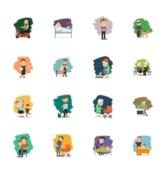 Different people characters icons set vector image vector image