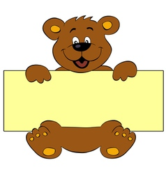 Happy bear with banner vector image vector image