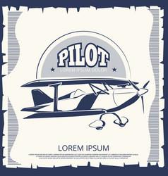 label design - vintage poster airplane vector image