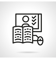 Online education line icon web lessons vector