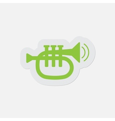 Simple green icon - trumpet sound and vibration vector