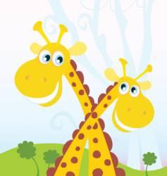 two giraffes vector image