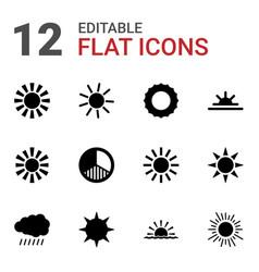 12 sunrise icons vector image