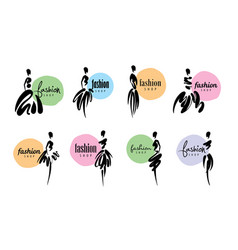 a set of logos for fashion with drawn vector image