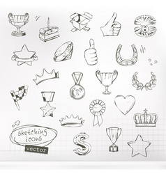 Awards and achievement sketches of icons set vector