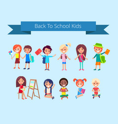 Back to school kids isolated vector