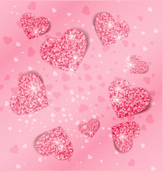 background with glittering hearts vector image