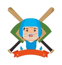 baseball player emblem sport vector image