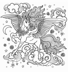 beautiful unicorn with a long mane black and whit vector image