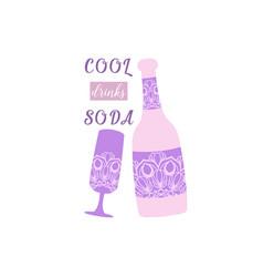 Beer bottle and glass wine vector