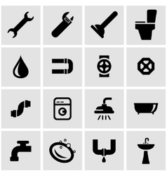 black plumbing icon set vector image