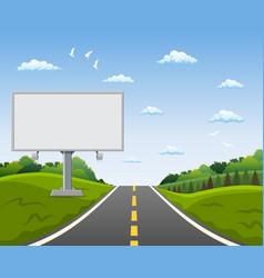 Blank billboard and roadside trees at road vector