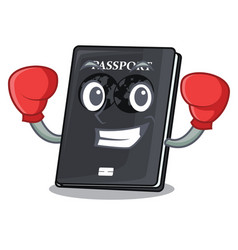 Boxing black passport in a cartoon bag vector