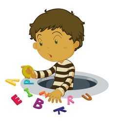 Boy with letters vector