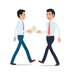 Businessmen handing correspondence flat vector
