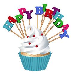Cake bakery products happy birthday vector