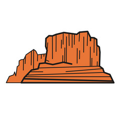 Canyon flat color on white vector