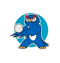 Cartoon blue owl volleyball player vector