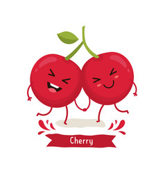 cherry cartoon vector image