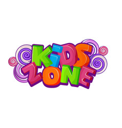 Children playground area kids zone logo on white vector