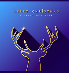 christmas and new year gold deer greeting card vector image