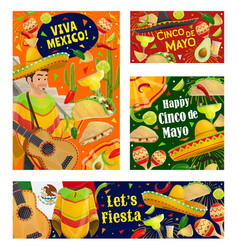 cinco de mayo mariachi with sombrero and guitar vector image