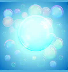 Colorful background of realistic soap bubbles vector