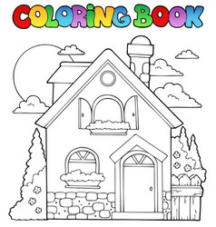 Coloring book house theme image 1 vector