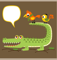 Crocodile and birds cartoon vector