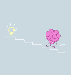 Cute human brain climbing stairs up to light lamp vector