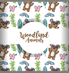 Cute woodland tribal animal in the forest vector