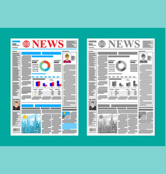 daily newspaper in color and black and white vector image
