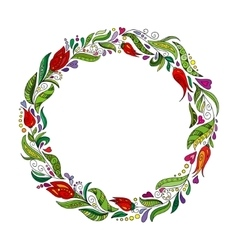 Detailed contour wreath with herbs tulips and vector image