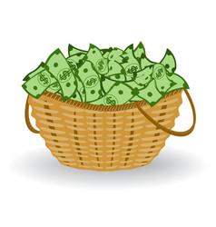 dollars basket financial profit concept vector image