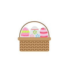 Easter eggs in basket flat icon religion holiday vector