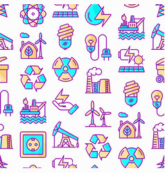 Energy seamless pattern with thin line icons vector