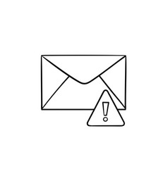 Envelope and exclamation mark hand drawn outline vector