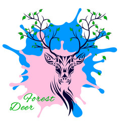 Fairy forest deer head vector