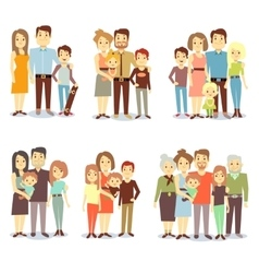 Families different types flat icons set vector