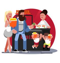 family buys pop corn vector image