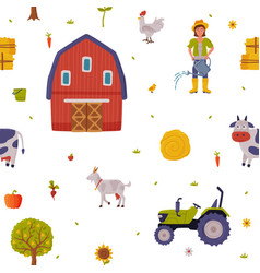 Farm and agricultural objects seamless pattern vector