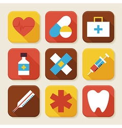 Flat Health and Medicine Squared App Icons Set vector