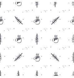 forest adventure seamless pattern with trees and vector image