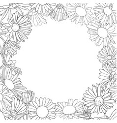 Frame with drawing daisy flowers vector