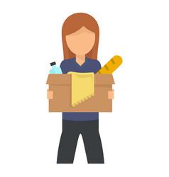 Girl volunteer box icon flat style vector