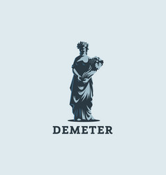 goddess demeter with ears and fruit vector image