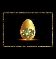 golden easter egg with glitter medical mask vector image