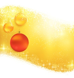 Golden sparkling Christmas background with hanging vector image