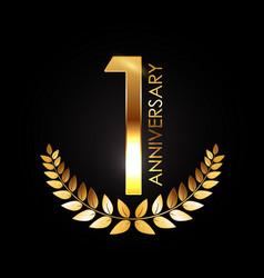 Golden template logo 1 years anniversary vector