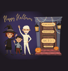 halloween party invitation with kids in costumes vector image